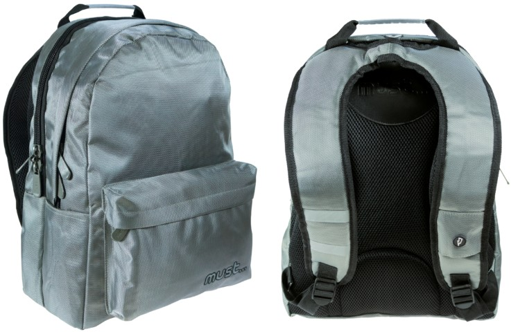 61d66bf20ae Τσάντα πλάτης Must σε γκρι χρώμα με 3 θήκες και εργονομική πλάτη. Τιμή:  34,99€.