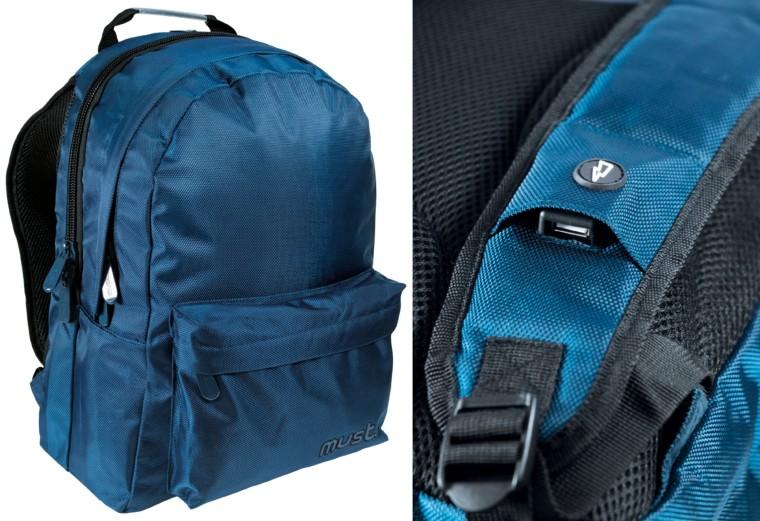 7da63f7a2a6 Τσάντα πλάτης Must σε σκούρο μπλε χρώμα με 3 θήκες και θύρα USB. Τιμή:  34.99€