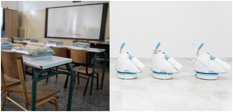 """Δ. Πυλαίας Χορτιάτη: Ρομπότ απολύμανσης """"έπιασαν δουλειά"""" στα σχολεία στην μάχη κατά του κορωνοϊού"""