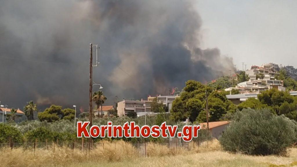 Εκτός ελέγχου η φωτιά στις Κεχριές  – Εντολή εκκένωσης και της κατασκήνωσης στο Σοφικό