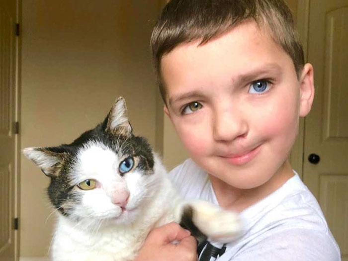 Δέχθηκε σκληρό bullying για το χρώμα των ματιών και τα χείλη του μα βρήκε μία γάτα να του μοιάζει και… μαζί βρήκε τη χαρά!