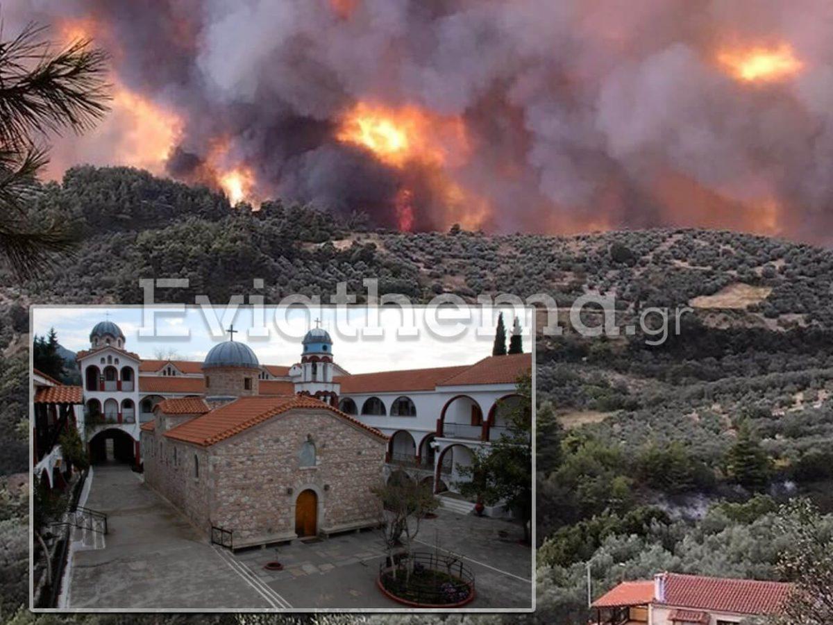 """Μονή του Οσίου Δαυϊδ: Οι φλόγες έφτασαν απέξω - 3 μοναχοί αρνήθηκαν να εγκαταλείψουν"""""""