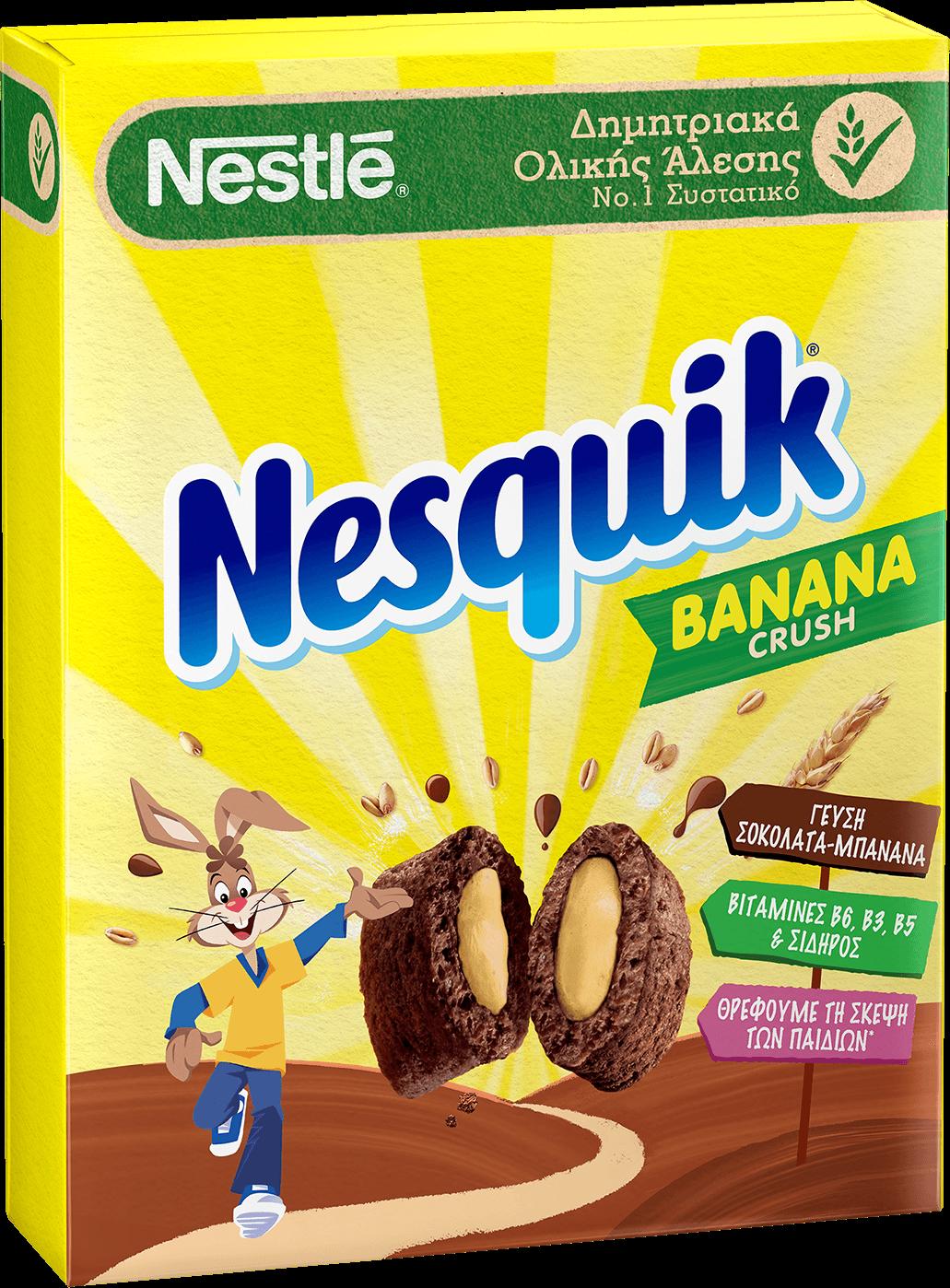 Η σοκολάτα και η μπανάνα, δύο ακαταμάχητες γεύσεις που αγαπούν μικροί και μεγάλοι, ενώνονται για πρώτη φορά στα δημητριακά Nestlé NESQUIK® και είναι εδώ για να σας χαρίσουν μοναδικές στιγμές απόλαυσης στο πρωινό σας!