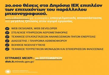 Μέχρι τις 10 Σεπτεμβρίου οι αιτήσεις για 20.000 επιπλέον θέσεις σε Δημόσια ΙΕΚ